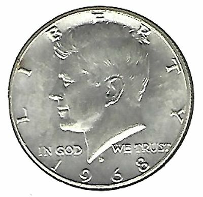 "US 1968-D Kennedy Half Dollar 40% Silver EXCELLENT DOUBLE ""D""...Must See !!!"