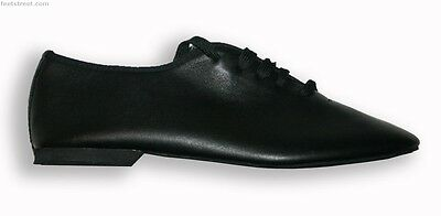 Black Soft Leather Rubber Sole Jazz Dance Shoes Child 9 up to Adult 10