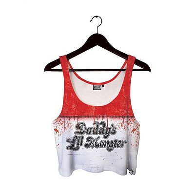 BRAND NEW WOMENS Beloved DADDYS LITTLE MONSTER HARLEY QUINN Crop Top SMALL-LARGE