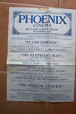 PHOENIX CINEMA  38 Reynard Street, SPILSBY  JUNE 1981, CINEMA POSTER