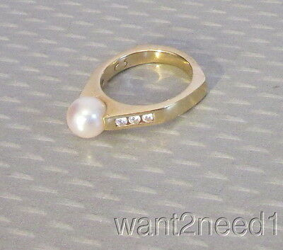 estate 14K YELLOW GOLD 8mm PEARL SOLITAIRE RING sz 7 diamond accent gallery 6.5g