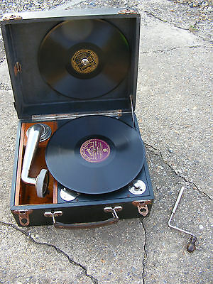 Antique Vintage Portable Wind Up Gramophone Record Player Pathe Delovox? French?