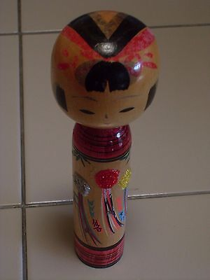 Made in Japan, Signed Vintage Wooden Kokeshi Doll w/ traditional dress
