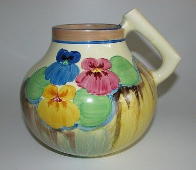 Clarice Cliff Art Deco 'Delicia Pansies' Handled Jug Shape 634