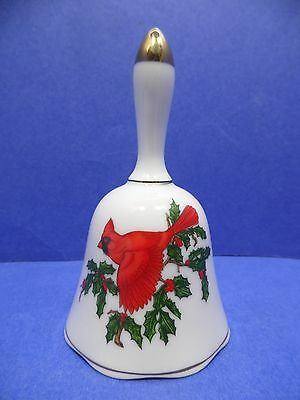 Lefton China Cardinal Red Bird Bell Collectible Hand Painted Porcelain Gold
