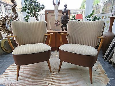 Pair Of Mid Century Vintage East German Cocktail Armchairs / Chairs 1975 A17/29