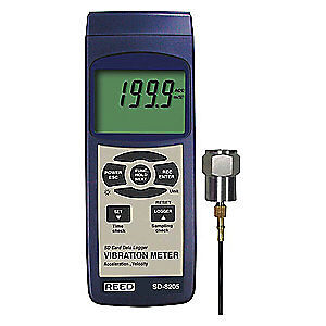 REED INSTRUMENTS Vibration Meter/Datalogger,LCD,USB/RS232, SD-8205