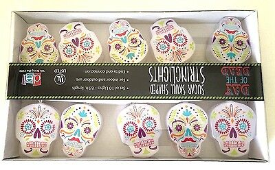Day of the Dead Sugar Skull Shaped String Lights 10 Count Indoor Outdoor New
