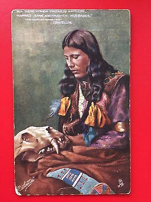 "NATIVE AMERICAN  ""The Song of Hiawatha""   TUCK Oilette Indian c1910s  Postcard"