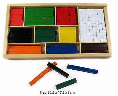 WOODEN CUISENAIRE RODS 308 pcs EDUCATIONAL MATHS COUNTING TEACHING TOY