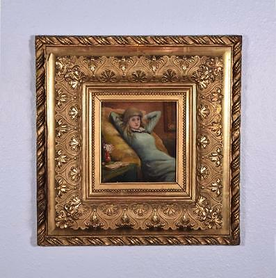 French Antique Oil on Panel Painting of a Girl, Artist Signed