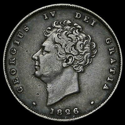 1826 George IV Milled Silver Shilling, Bold VF