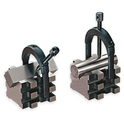 STARRETT Hardened Steel V-Blocks,Matched Pair w/Clamps,2 In, 568C