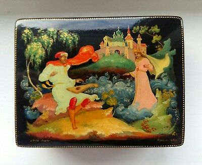 Russian 1960 Palekh Lacquer Box/trinket Hand Painted And Signed By Krylov