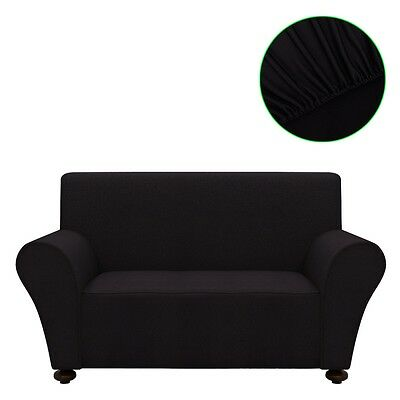 2-seater Stretch Couch Sofa Armchair Slipcover Protector Black Polyester Jersey