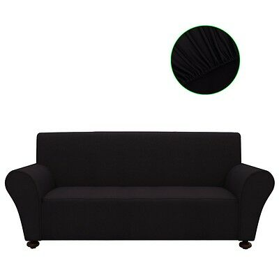 3-seater Stretch Couch Sofa Armchair Slipcover Protector Black Polyester Jersey