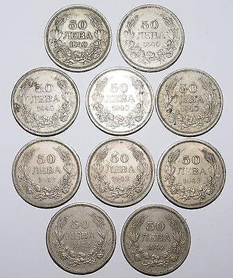 Bulgaria Kingdom of 10 x 50 Leva since 1943. King Boris III. Collectible coins.