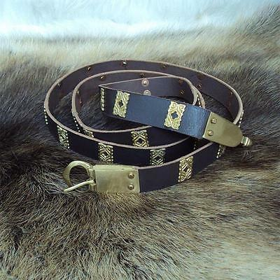 Medieval / Viking Brown Leather Belt with Brass Quatrefoils. Ideal for Costume