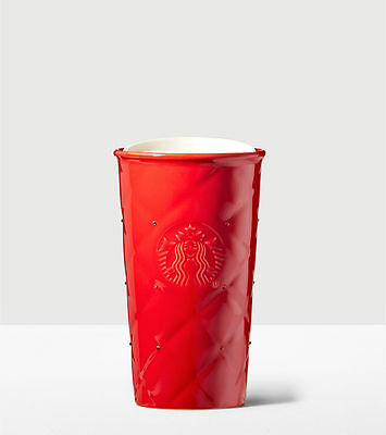 Limited Edition Starbucks Red Quilted Double Wall Traveler w Swarovski® crystals