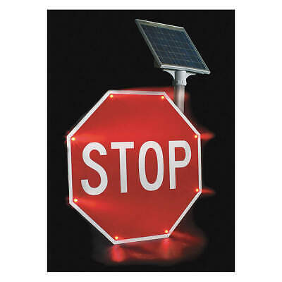 TAPCO LED Stop Sign,Stop,White/Red, 2180-00208