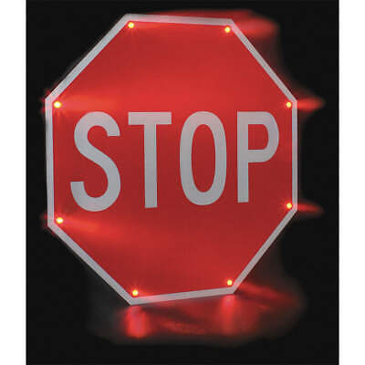 TAPCO LED Stop Sign,Stop,White/Red, 2180-00203