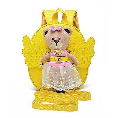 Girl Toddler belt backpack double shoulder movable wings bear bag Yellow