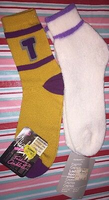 Lot 2 Pair Acrylic Vintage Socks Purple Wispy Terry Caprice Ankle Cheerleader