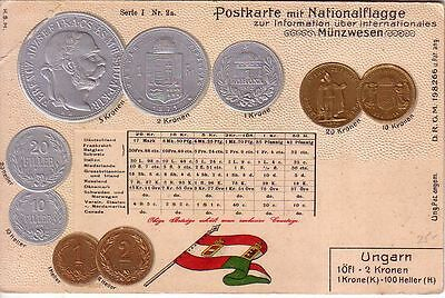 Hungary - Pre-1906 Coins and flag unused embossed postcard