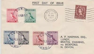 Lundy 1957 Standing Puffin Definitives 6 Cpl Cat 126-131 First Day Cover Ex Cond