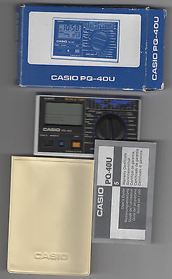 BOEING branded Vintage CASIO PQ-40U WORLD TIME Digital Travel Alarm Clock Japan