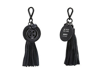 Mimco birthday button anniversary leather black matte key ring