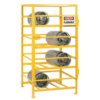 LITTLE GIANT Gas Cylinder Rack,36x48,Capacity 12, GSC-3648-70, Yellow