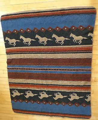 Horses Running Sherpa Fleece Southwest Ranch Throw Blanket 64 x 48 Blue Brown