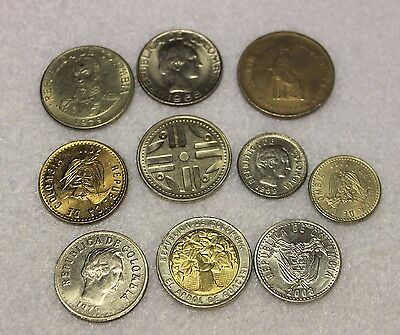10 different  set of coins from Colombia EF and better