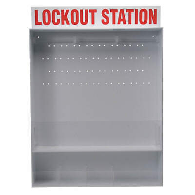 BRADY Polystyrene Lockout Station,Unfilled,26 In H, 50995, Red/White