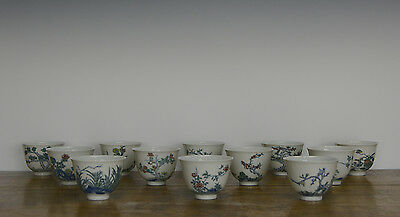 Rare Set of 12 Chinese Qing Kangxi MK Doucai Monthly Flower Porcelain Wine Cup