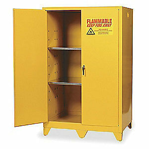 EAGLE Galvanized Steel Flammable Safety Cabinet,90 Gal.,Yellow, 1992LEGS, Yellow