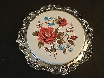 Wallace Baroque Silver Plate Rose Floral Footed Trivet Dish 738