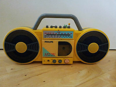 ReTrO 80s Rare Yellow PHILIPS  Moving Sound Radio Cassette Boombox