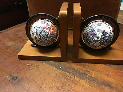 VINTAGE Small GLOBE BOOKENDS