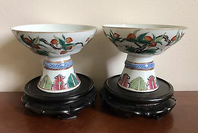 Antique Chinese A Pair of Famille Rose Peaches and Butterfly Porcelain Bowls