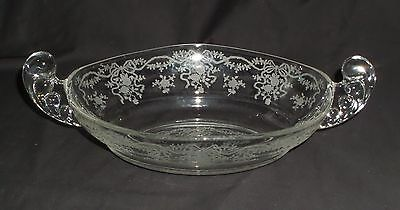 "Fostoria ROMANCE CRYSTAL *10"" HANDLED OVAL BOWL*2594"