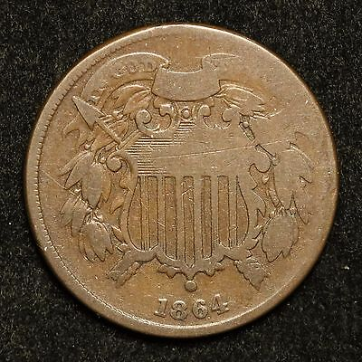 1864 Small Motto Good G Circulated Two Cent Piece