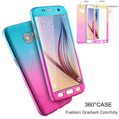 For Samsung A710 Note 8 S5 6 360° Full Protection Cover Gradient Color Hard Case