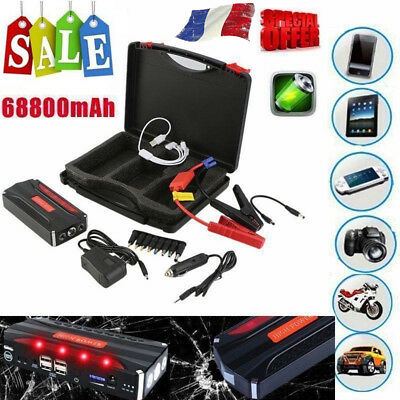 68800mAh Chargeur Auto Jump Starter Booster Batterie Voiture 2USB Power Bank SU