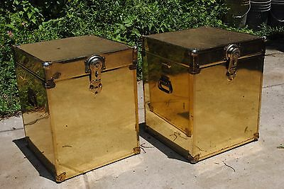 Pair Brass Trunk Mid Century Modern Coffee Table Night Stand Hollywood Regency