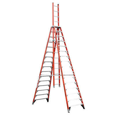 WERNER Fiberglass Trestle Extension Ladder,Fbrgls,IA,16 ft, E7416
