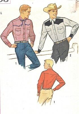 Vintage 1950's 1960's Men's Cowboy Western Button Front Shirt Sewing Pattern 44