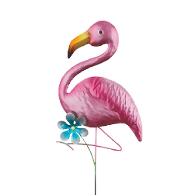 Colorful Metal Pink Flamingo Yard Art Decor Garden Stake Outdoor Ornament 21""