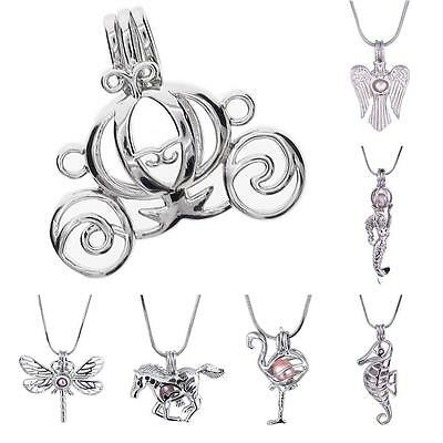 Lovely 18K White Gold Plated Pearl Cage Pendant Locket For Necklace Wish Jewelry